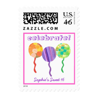 Celebrate Sweet 16 party stamp
