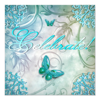 Celebrate Teal Blue Butterfly Floral Birthday Card