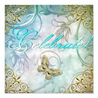 Celebrate Teal Blue Butterfly Floral Gold Party Card