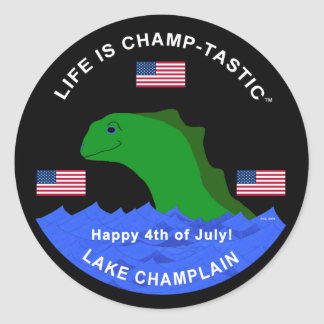 Celebrate the 4th of July with Champ! Round Stickers