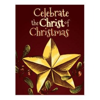 Celebrate the Christ of Christmas Custom Gold Star Postcard