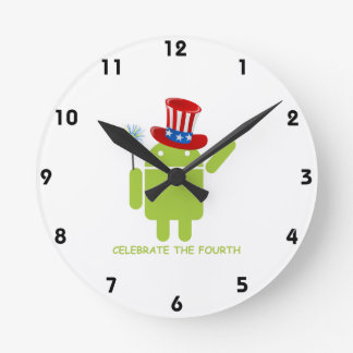 Celebrate The Fourth (Android Bug Droid) Round Wall Clocks