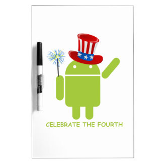 Celebrate The Fourth (Android Bug Droid) Dry Erase Whiteboards