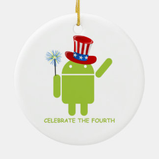 Celebrate The Fourth (Android Bug Droid) Christmas Tree Ornaments