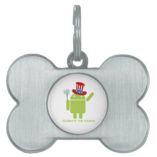 Celebrate The Fourth (Android Bug Droid) Pet ID Tags