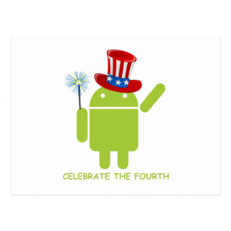 Celebrate The Fourth (Android Bug Droid) Postcard