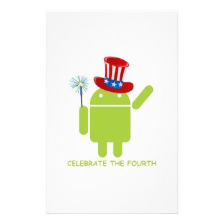 Celebrate The Fourth (Android Bug Droid) Custom Stationery