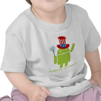 Celebrate The Fourth (Android Bug Droid) T-shirts