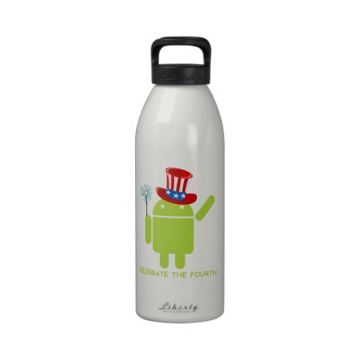 Celebrate The Fourth (Android Bug Droid) Drinking Bottle