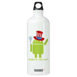 Celebrate The Fourth (Android Bug Droid) Water Bottle