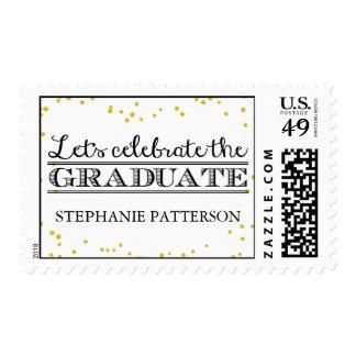 Celebrate the Graduate Gold Dot Graduation Postage