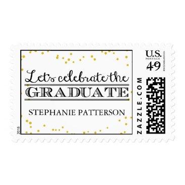 celebration Celebrate the Graduate Gold Dot Graduation Postage