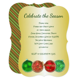 Celebrate the Season Gold Christmas Party Card