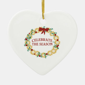 Celebrate The Season Double-Sided Heart Ceramic Christmas Ornament