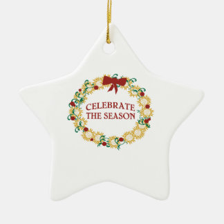 Celebrate The Season Double-Sided Star Ceramic Christmas Ornament