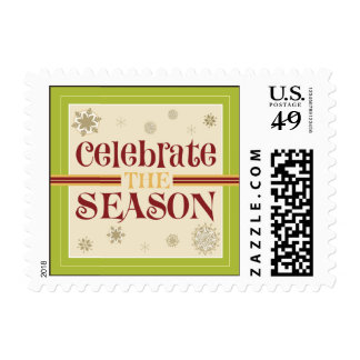Celebrate the Season Postage Stamps (olive)
