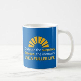 """Celebrate the Surprises"" Inspirational Quote Mug"