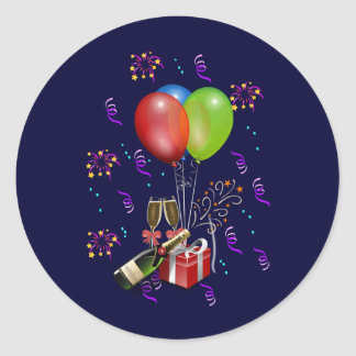 Celebrate, time to party. classic round sticker