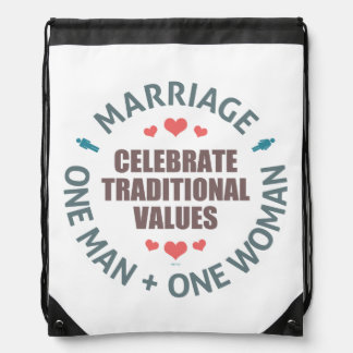 Celebrate Traditional Values Drawstring Backpack