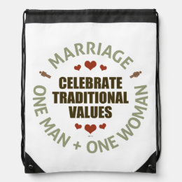 Celebrate Traditional Values Drawstring Bag