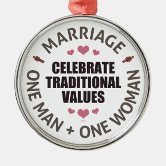 Celebrate Traditional Values Round Metal Christmas Ornament