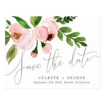 Beach Themed CELEBRATE WATERCOLOR SAVE THE DATE POSTCARD