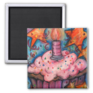 Celebrate With A Cupcake 2 Inch Square Magnet