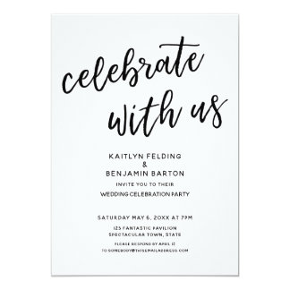 """""""Celebrate with Us"""" Casual Modern Wedding Party Card"""