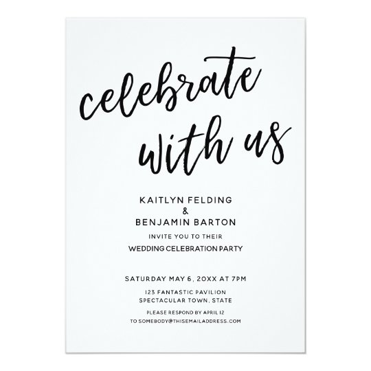 "Modern Wedding Invite Wording: ""Celebrate With Us"" Casual Modern Wedding Party Invitation"