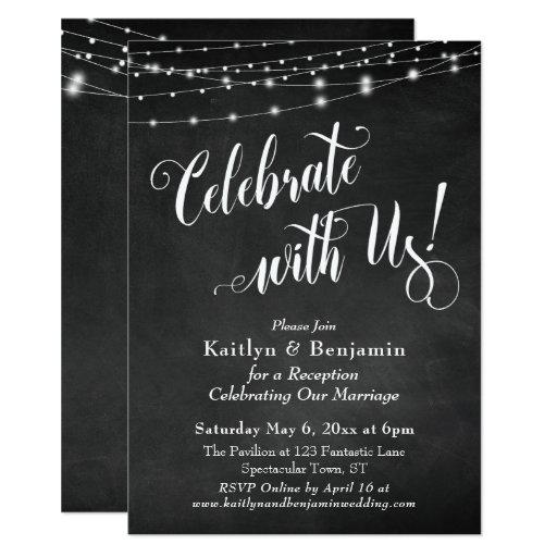 Celebrate with Us! Chalkboard String Lights Invitation