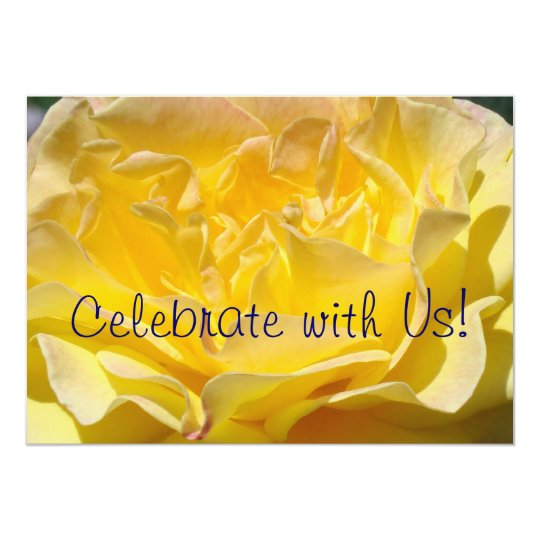 Celebrate with Us! Invitations Yellow Rose Flower