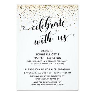 Celebrate With Us Reception-Only Gold Confetti Invitation