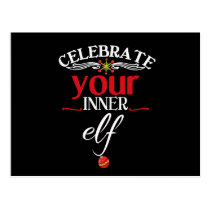 Celebrate Your Inner Elf Funny & Cute Christmas Postcard