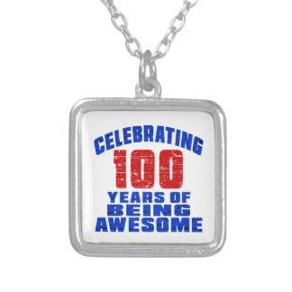 Celebrating 100 years of being awesome square pendant necklace