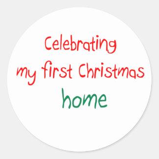 Celebrating 1st Christmas Home Classic Round Sticker