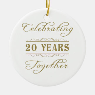 Celebrating 20 Years Together Ceramic Ornament