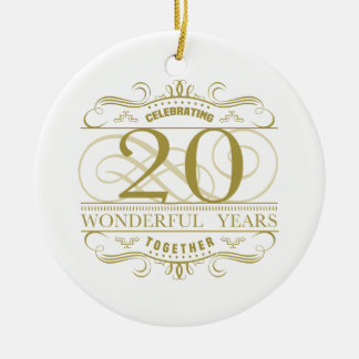 Celebrating 20th Anniversary Ceramic Ornament