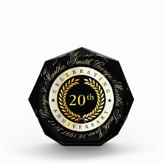 Celebrating 20th Anniversary. Customizable. Acrylic Award