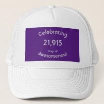 Celebrating 21,915 Days Of Awesomeness Birthday Trucker Hat