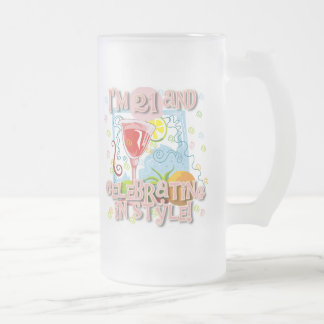 Celebrating 21 in Style 16 Oz Frosted Glass Beer Mug