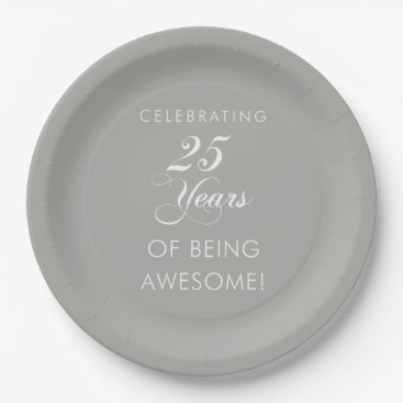 Professional Business Celebrating 25 Awesome Years Paper Plates