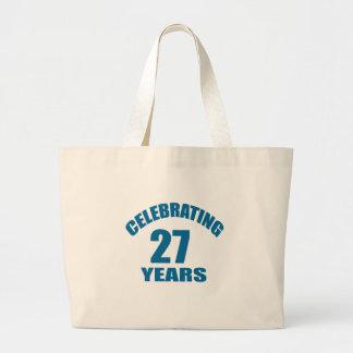 Celebrating 27 Years Birthday Designs Large Tote Bag