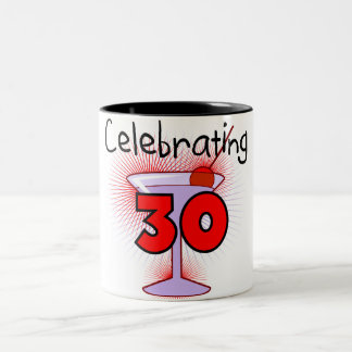 Celebrating 30 Tshirts and Gifts Two-Tone Coffee Mug