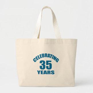 Celebrating 35 Years Birthday Designs Large Tote Bag