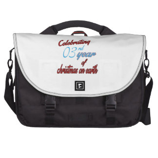 Celebrating 3rd year of christmas on earth bag for laptop