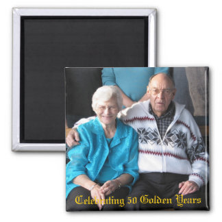 Celebrating 50 Golden Years 2 Inch Square Magnet