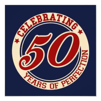 Celebrating 50 years of perfection 5.25x5.25 square paper invitation card