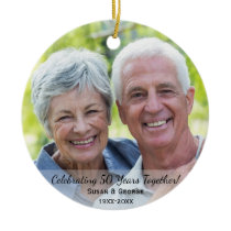 Celebrating 50th Wedding Anniversary Simple Photo Ceramic Ornament
