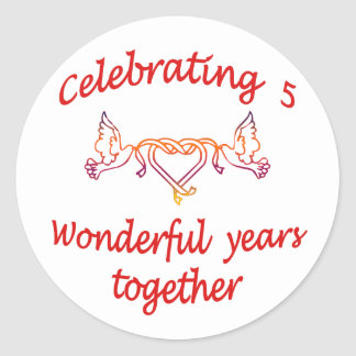 CELEBRATING 5 YEARS TOGETHER CLASSIC ROUND STICKER