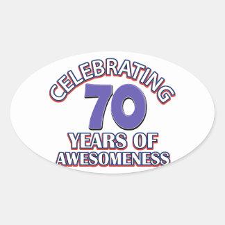 Celebrating 70 years oval sticker